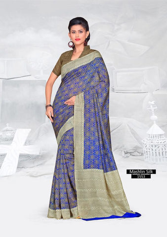 SAREE - Printed, Mulit-color, Mashlin Silk  Catalog 1553