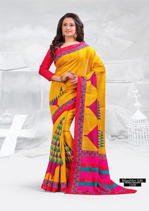 SAREE - Printed, Mulit-color, Mashlin Silk  Catalog 1509