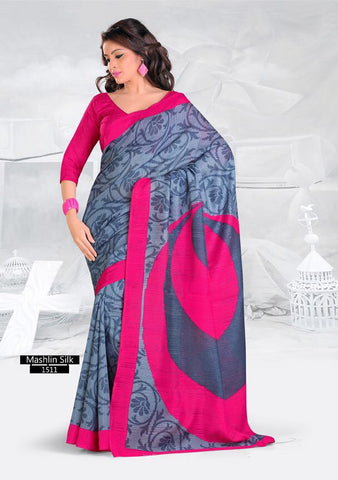 SAREE - Printed, Mulit-color, Mashlin Silk  Catalog 1511