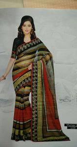 SAREE - Printed, Mulit-color  with Border Catalog 1229