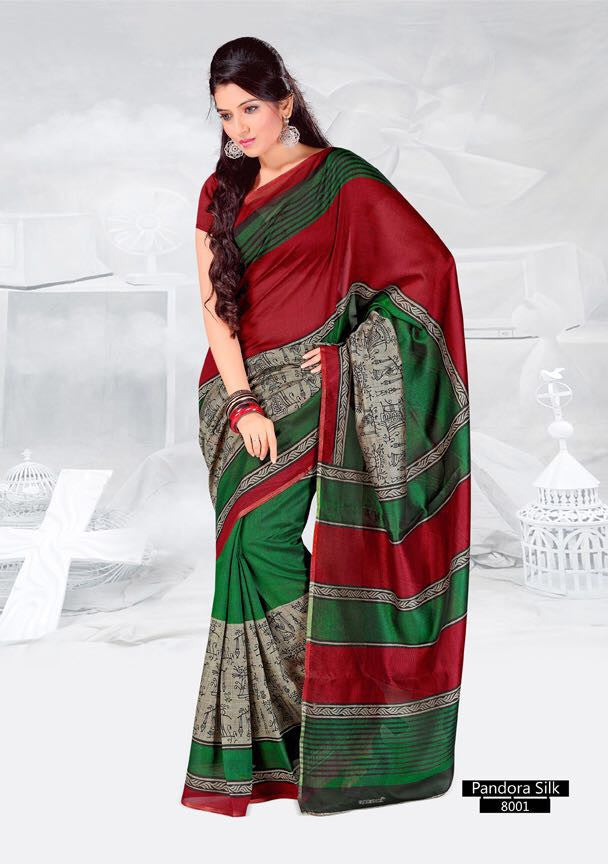 SAREE - Printed, Mulit-color, Pandora Silk  Catalog 8001