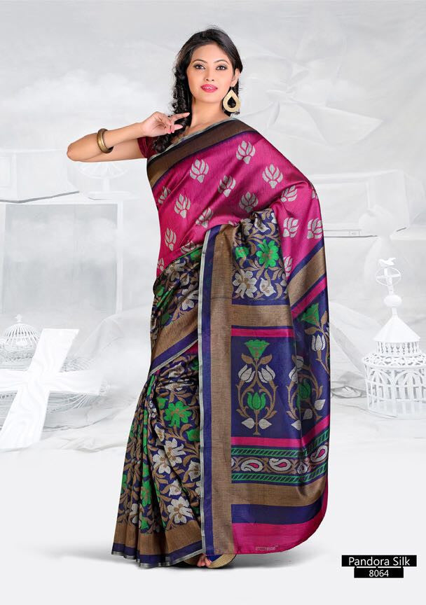 SAREE - Printed, Mulit-color, Pandora Silk  Catalog 8064