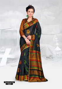 SAREE - Printed, Mulit-color, Pandora Silk  Catalog 8089