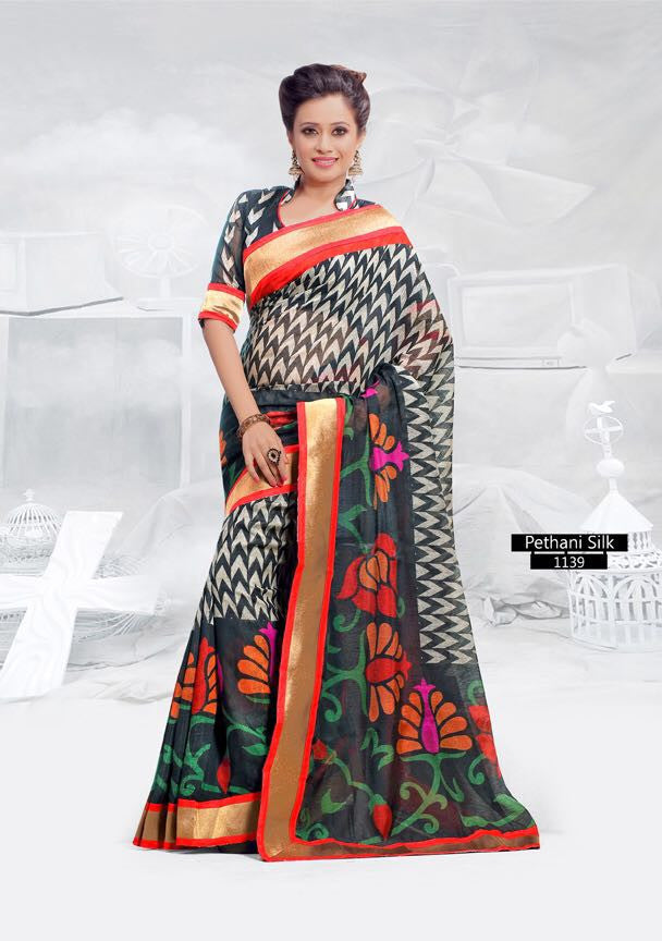 SAREE - Printed, Mulit-color  with Border Catalog 1139