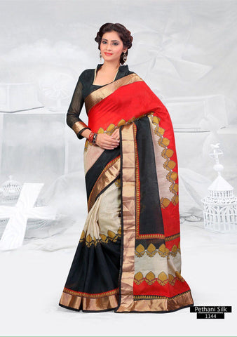 SAREE - Printed, Mulit-color  with Border Catalog 1144