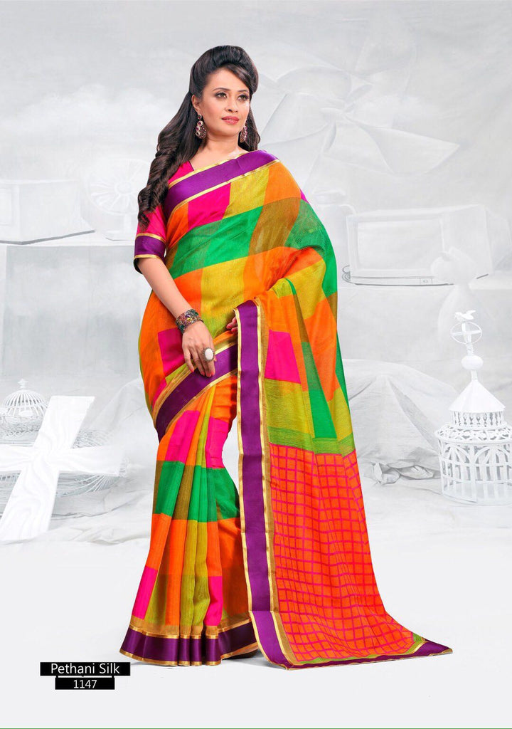 SAREE - Printed, Mulit-color  with Border Catalog 1147