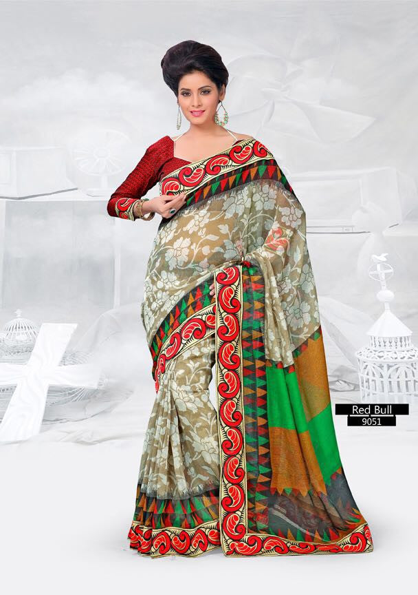 SAREE - Printed, Multi-color and Embroidary Catalog 9051