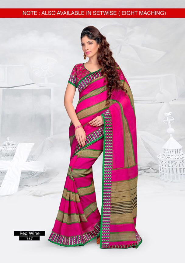 SAREE - Printed, Mulit-color  with Border Catalog 0757