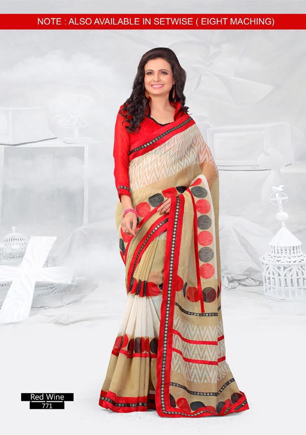 SAREE - Printed, Mulit-color  with Border Catalog 0771