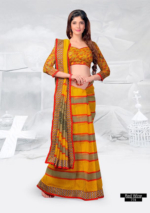 SAREE - Printed, Mulit-color  with Border Catalog 0774