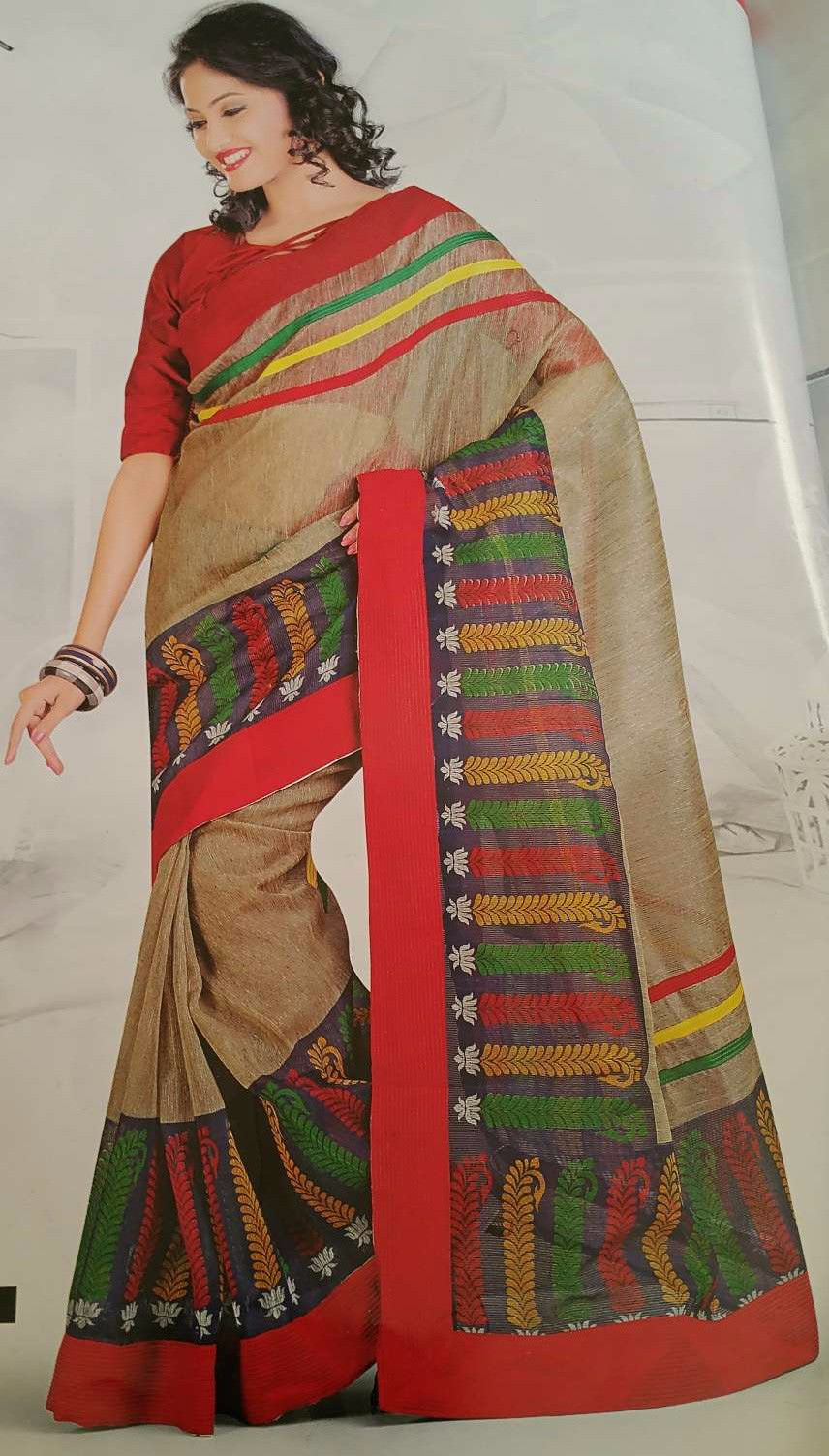 SAREE - Printed, Mulit-color  with Border Catalog 1182