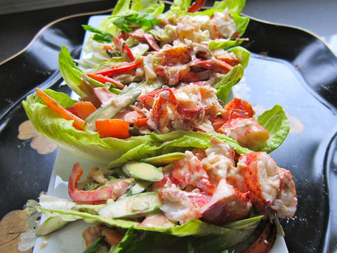 Lettuce wrapped salad mix presented on plate