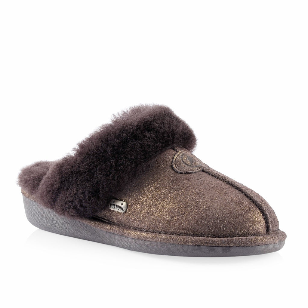 Nuknuuk Becca ladies leather slipper in brown shimmer glitter with sheepskin fur trim