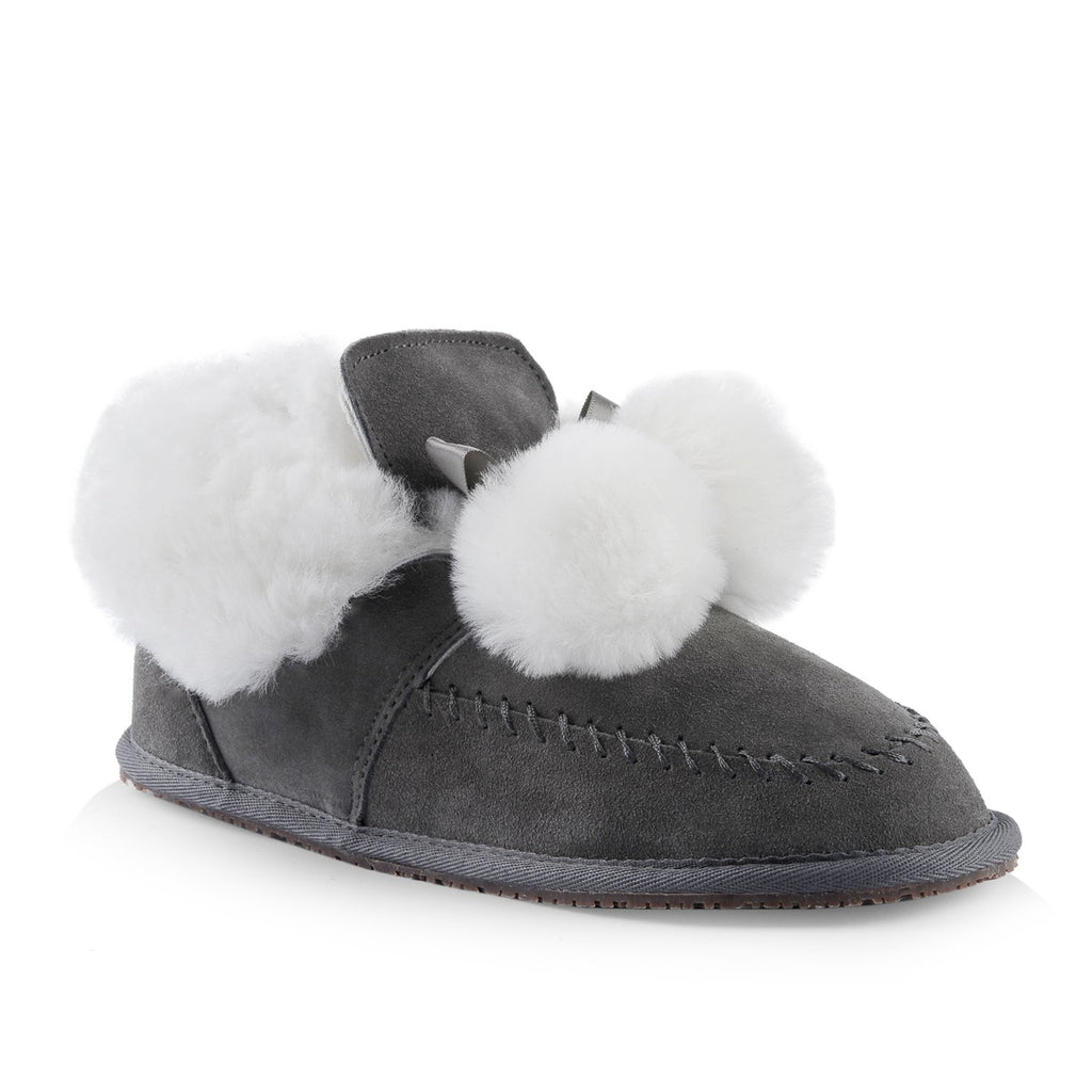 Bella leather slipper bootie in grey with sheepskin lining and pom poms