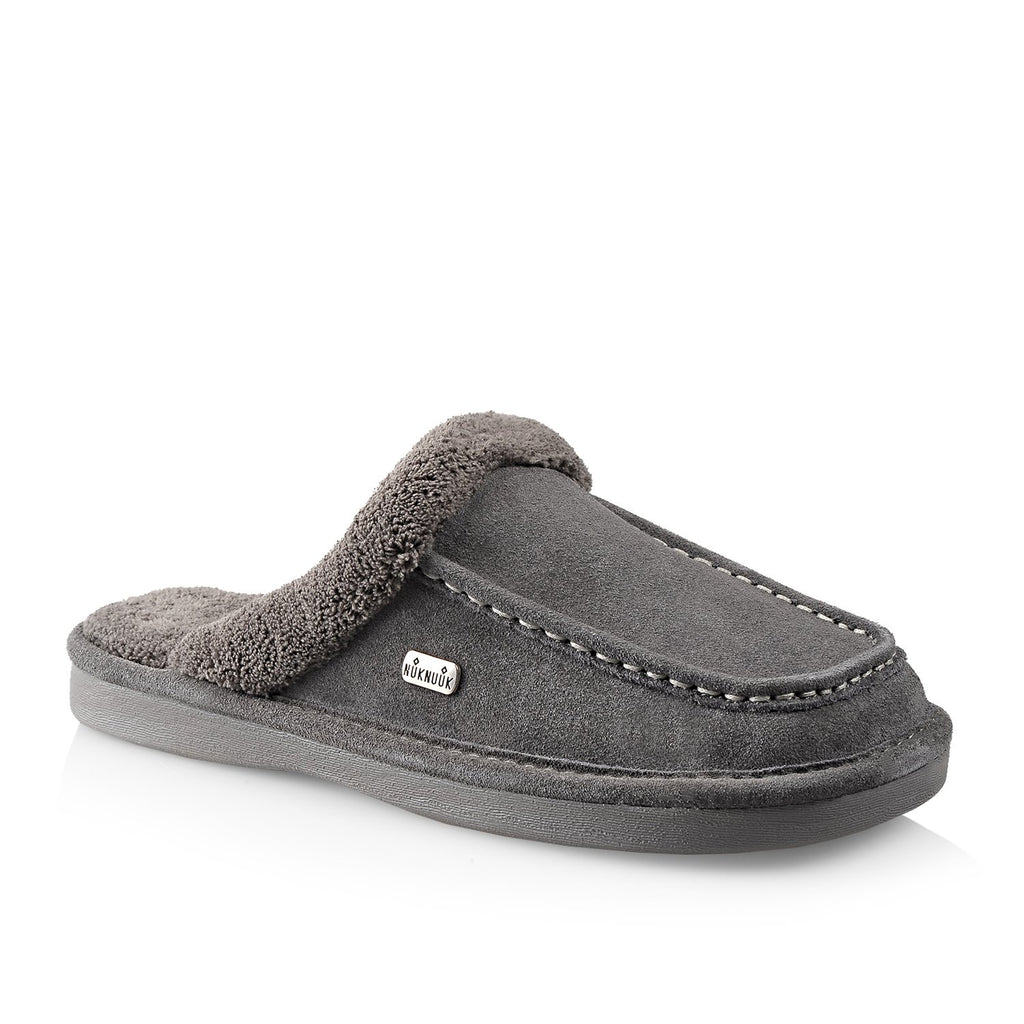 Nuknuuk Ed leather slipper in grey with plush lining
