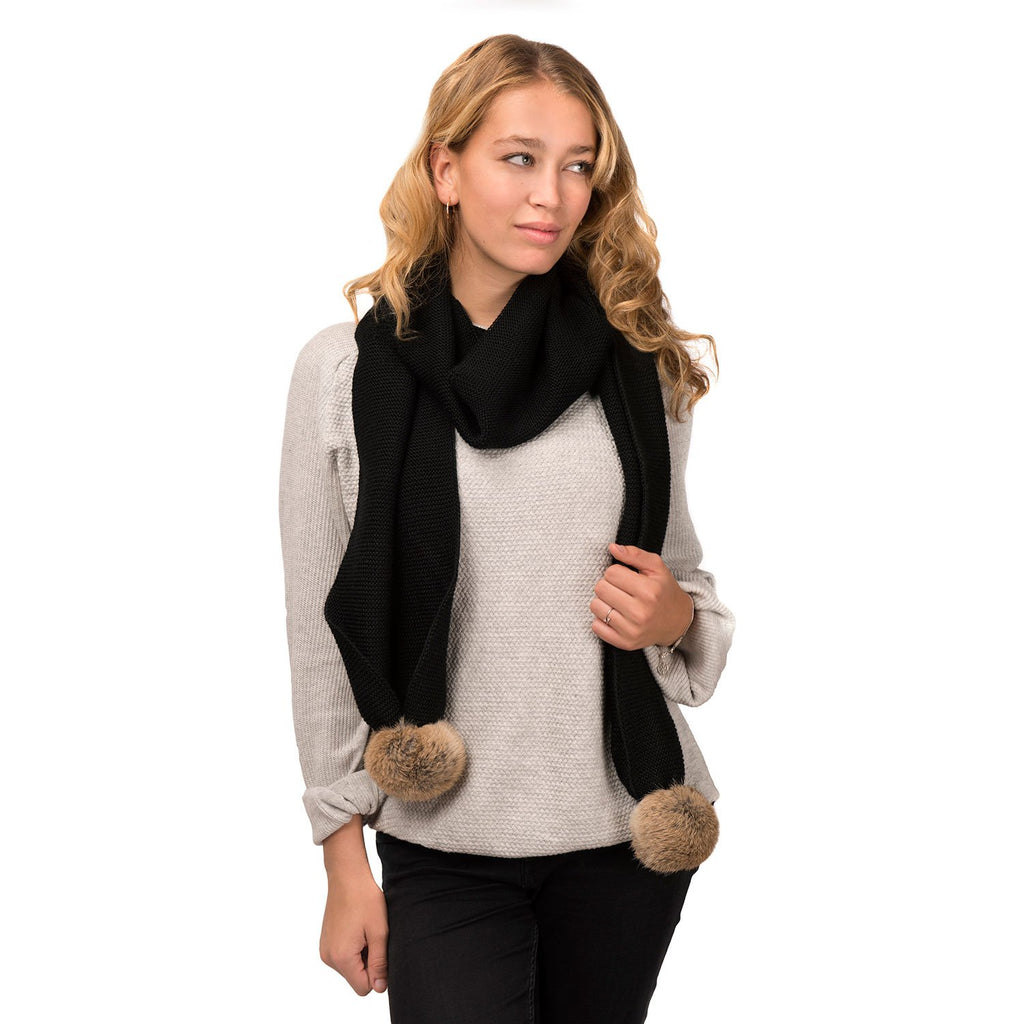 Nuknuuk ladies knit black scarf with natural rabbit fur pom poms