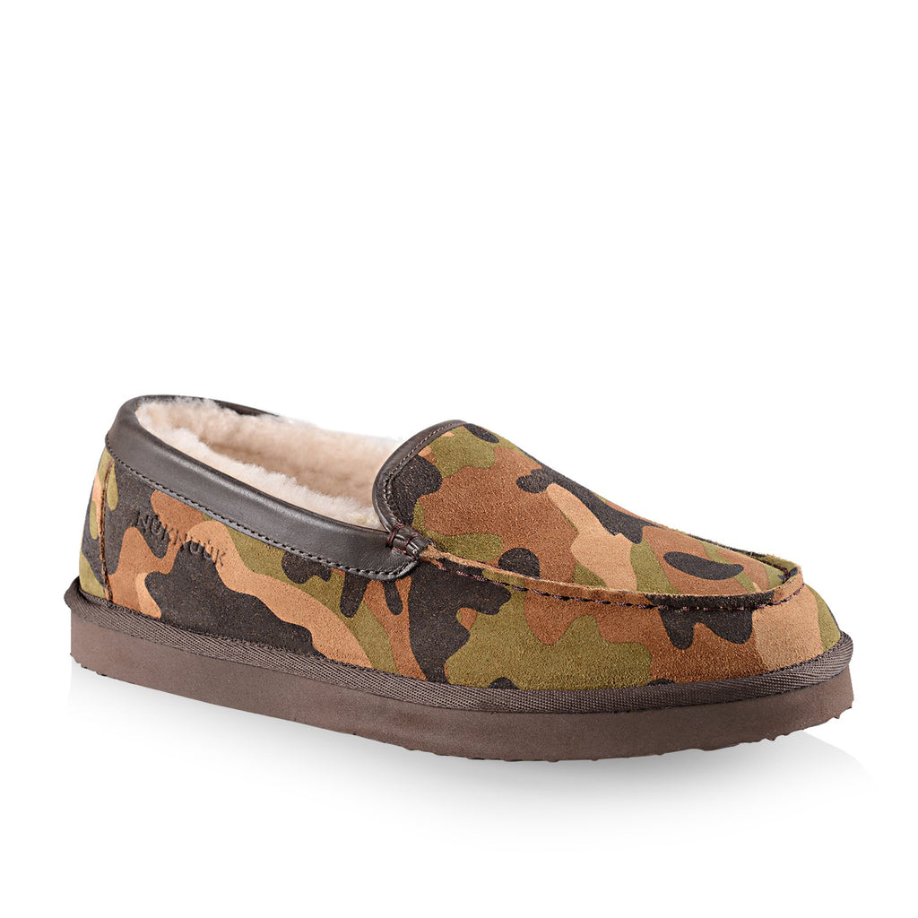 Marco men's leather slipper in camouflage print with sheepskin lining and memory foam insert