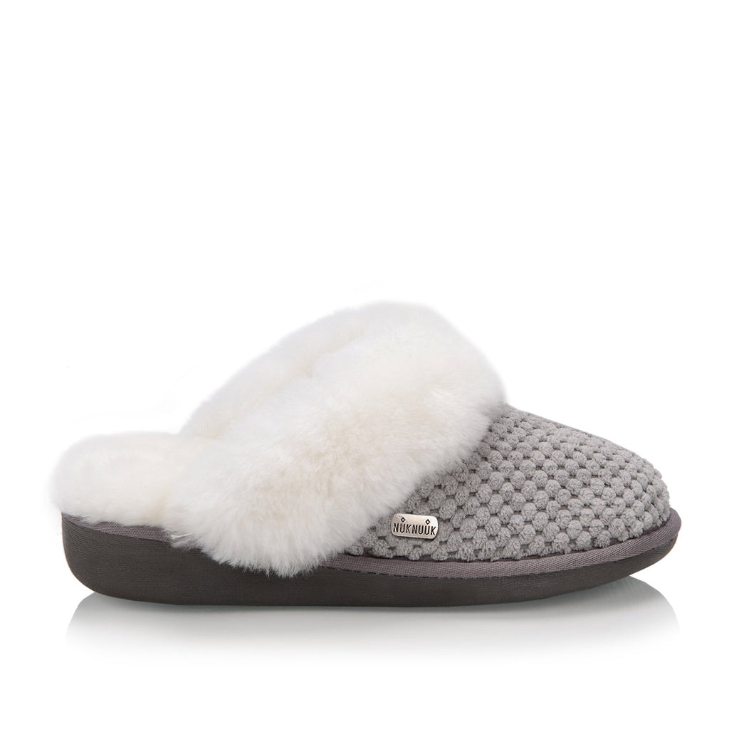 Nuknuuk Alexa women slipper in navy with sheepskin fur trim and memory foam outsole