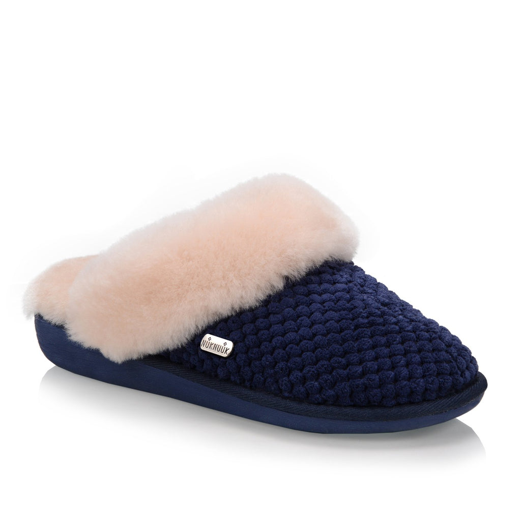Nuknuuk Alexa ladies' slipper in navy with sheepskin fur trim