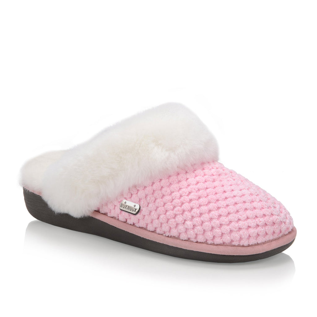 Nuknuuk Alexa women slipper in pink with sheepskin fur trim