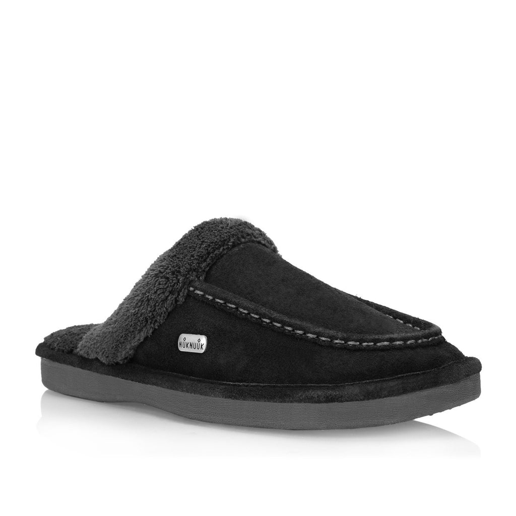 Nuknuuk Ed leather slipper in black with memory foam insole