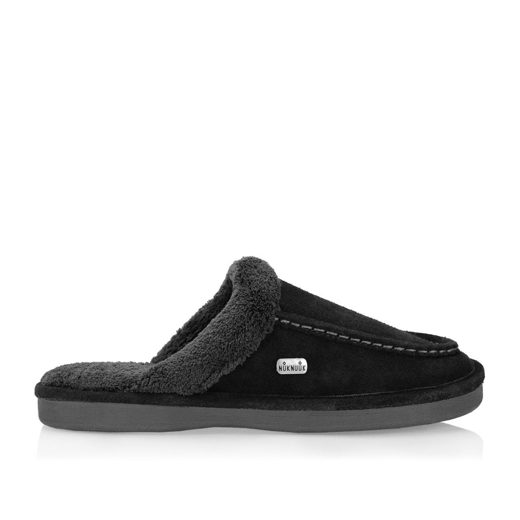 Nuknuuk Ed leather slipper in black with memory foam sole