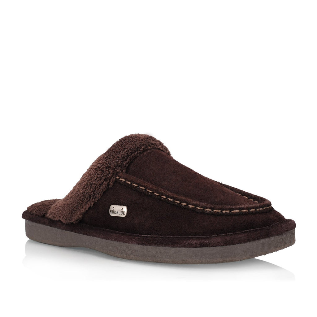 Nuknuuk Ed leather slipper in brown with memory foam sole