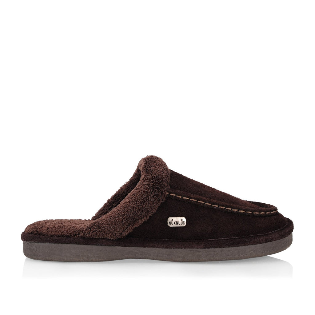 Nuknuuk Ed costco leather slipper in brown with memory foam sole