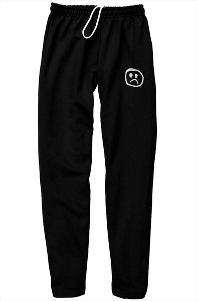Sad Face Embroidered Sweat Pants