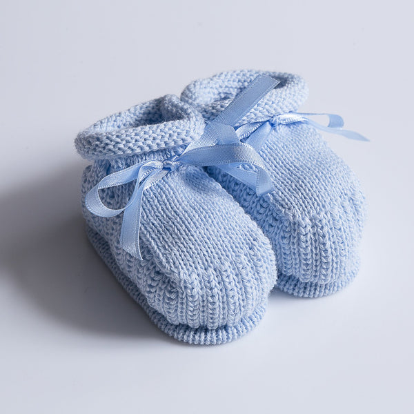 Knitted Booties ~ Baby Blue