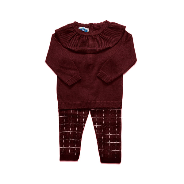 Ruffled Checkered Set ~ Burgundy