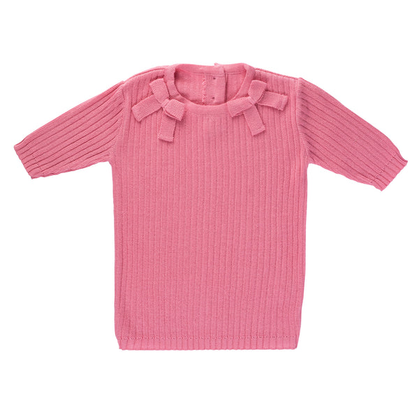 SS Ribbed Bow Tee ~ Coral