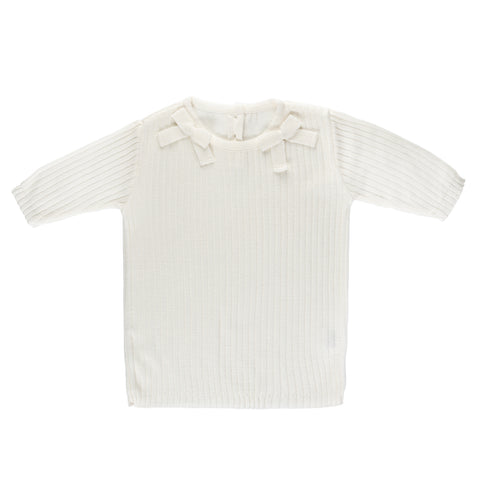 SS Ribbed Bow Tee ~ Off White