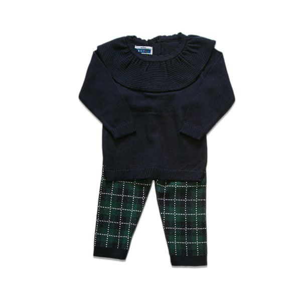 Ruffled Checkered Set ~ Navy/Green