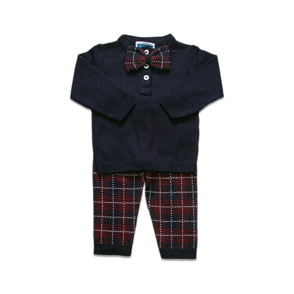 Checkered Bow Tie Set ~ Navy / Burg