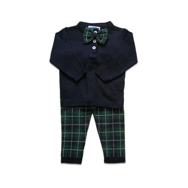 Checkered Bow Tie Set ~ Navy/ Green