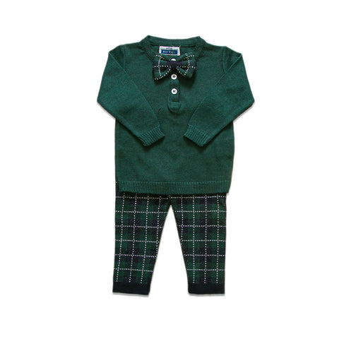 Checkered Bow Tie Set ~ Green