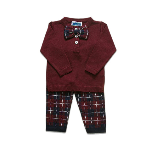 Checkered Bow Tie Set ~ Burgundy
