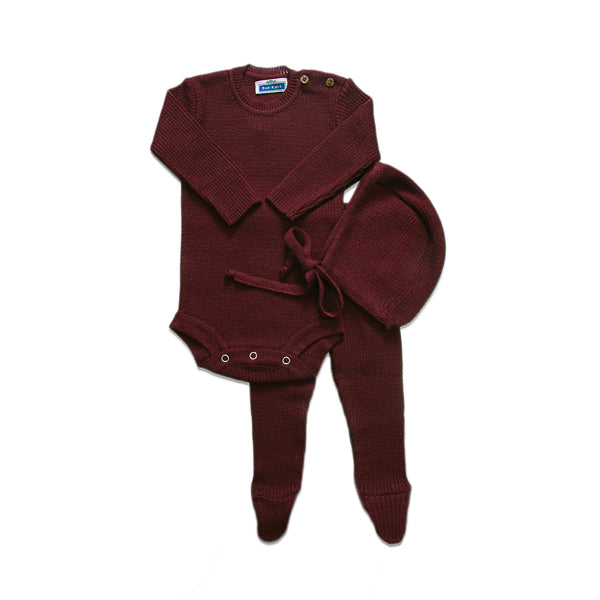 Knit Ribbed Onesie Set  ~ Burgundy
