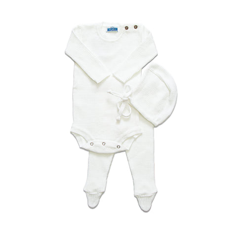 Knit Ribbed Onesie Set  ~ White
