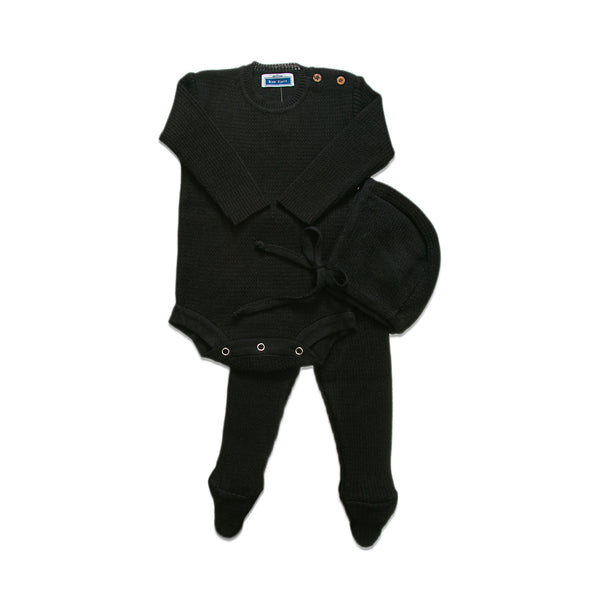 Knit Ribbed Onesie Set  ~ Black