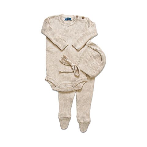 Knit Ribbed Onesie Set  ~ Sand