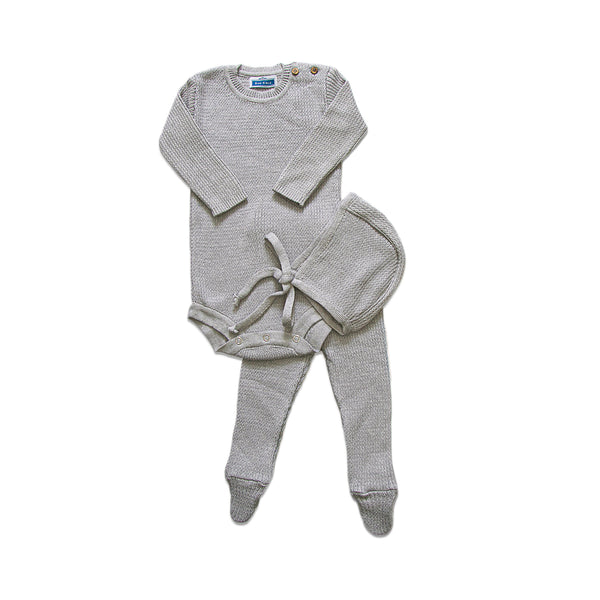 Knit Ribbed Onesie Set  ~ Grey