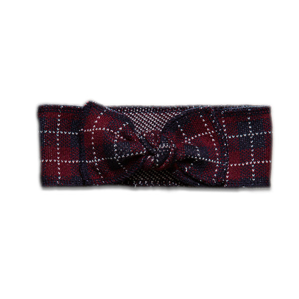 Checkered Headband ~ Burgundy