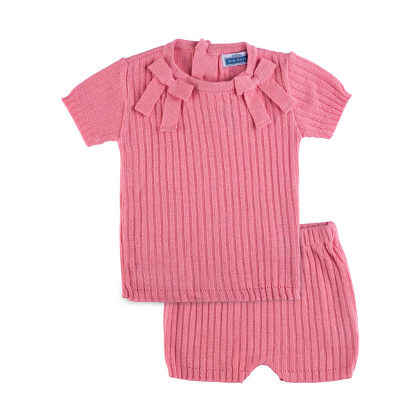 SS Knit Ribbed Bow Set ~ Coral