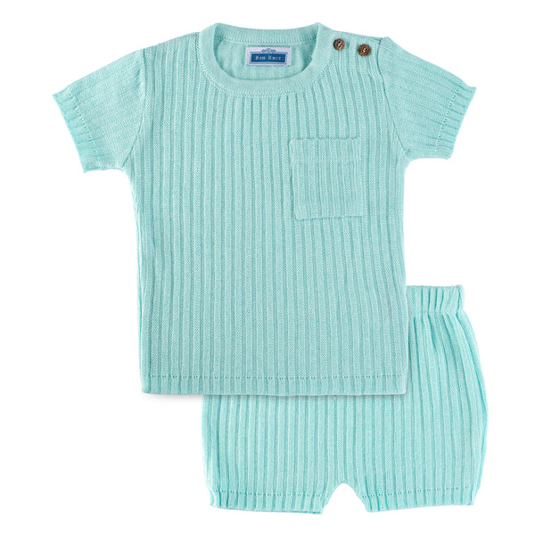 SS Knit Ribbed Set ~ Aqua