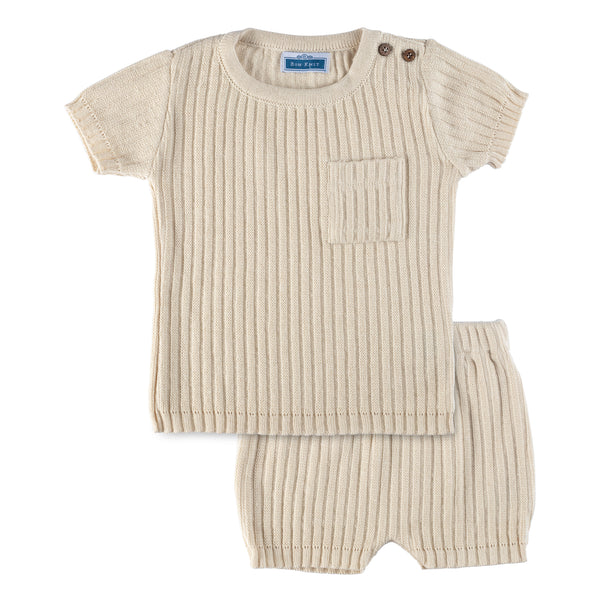 SS Knit Ribbed Set ~ Beige