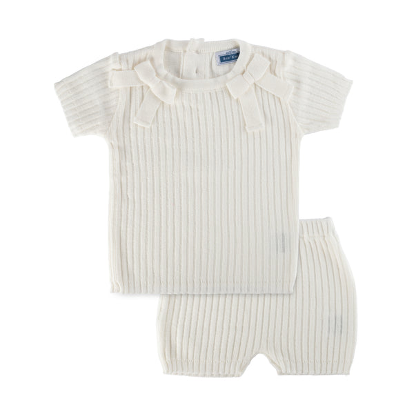 SS Ribbed Bow Set ~ Off White