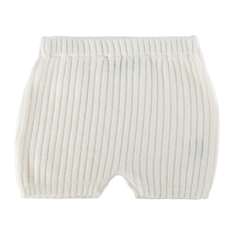 SS Knit Ribbed Bow Set ~ Off White