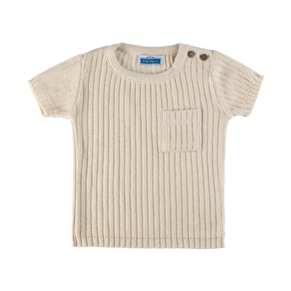 SS Ribbed Tee ~ Beige